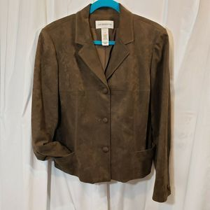 Liz Claiborne 14 brown faux suede jacket washable